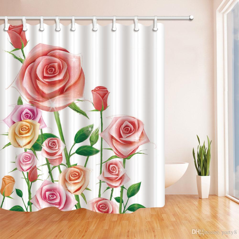 Beautiful Flower Rose Fashion Shower Curtain 70 x 70 In Mildew Resistant Waterproof Polyester Bathroom Accessories Hanging Curtains Cheap