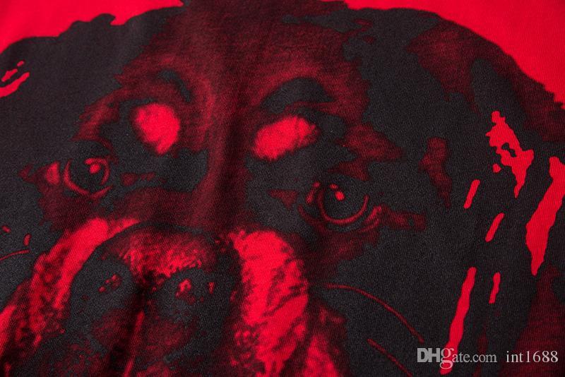 2018 صيف جديد أزياء العلامة التجارية الرجال عارضة الأحمر 3D الكلب هنتر طباعة القمصان الراقية القطن جولة الرقبة قصيرة الأكمام تي شيرت