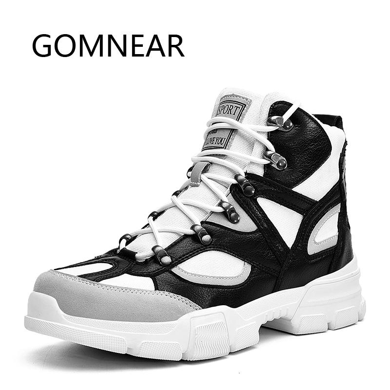 GOMNEAR Men Hiking Shoes Winter Sneakers For Men Tactical Boots Outdoor Anti-skid Breathable Tourism Hiking Camping Man Shoes