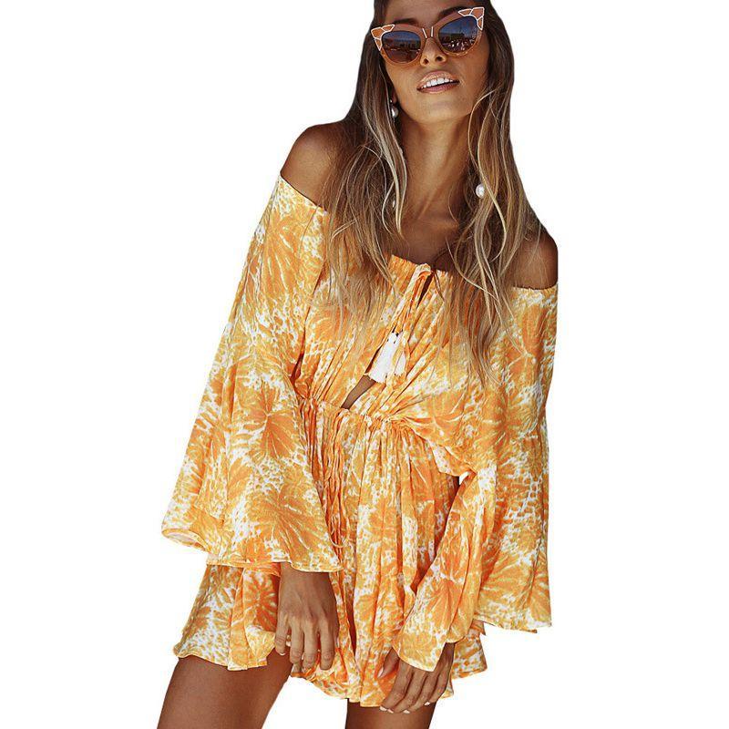 46de743fffb3 2019 Girl Off Shoulder Flare Sleeve Summer Playsuit Print Floral Boho Beach  Playsuit Women Orange Short Jumpsuit Rompers From Vikey16