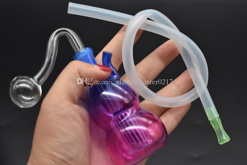 Tubos de agua Bong de vidrio en línea Perc Reciclador burbujeador 10 mm Hookah conjunta Bongs mini con manguera y filtro de boca de tazón tubo de vidrio quemador de aceite