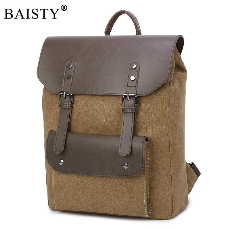 2018 New Trend Vintage Fashion Backpack PU Leather And Canvas Backpack Men  School School Bag Bagpack Rucksack Camera Backpack Back Packs From  Paradise12, ... ffdc6522a7