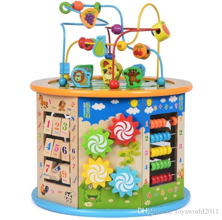 Multi Purpose Bead Maze Wooden Cube Activity Center Fishing Games Roller Coaster Gear Flying Chess Shape Sorter Learning Clock