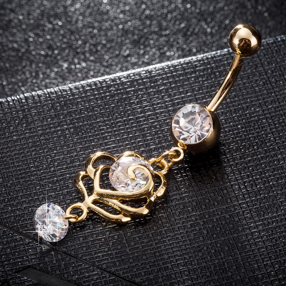 Fashion Belly Button Rings Golden Flower Stainless Steel Barbell Dangle Rhinestone Double Butterfly Navel Piercing Body Jewelry