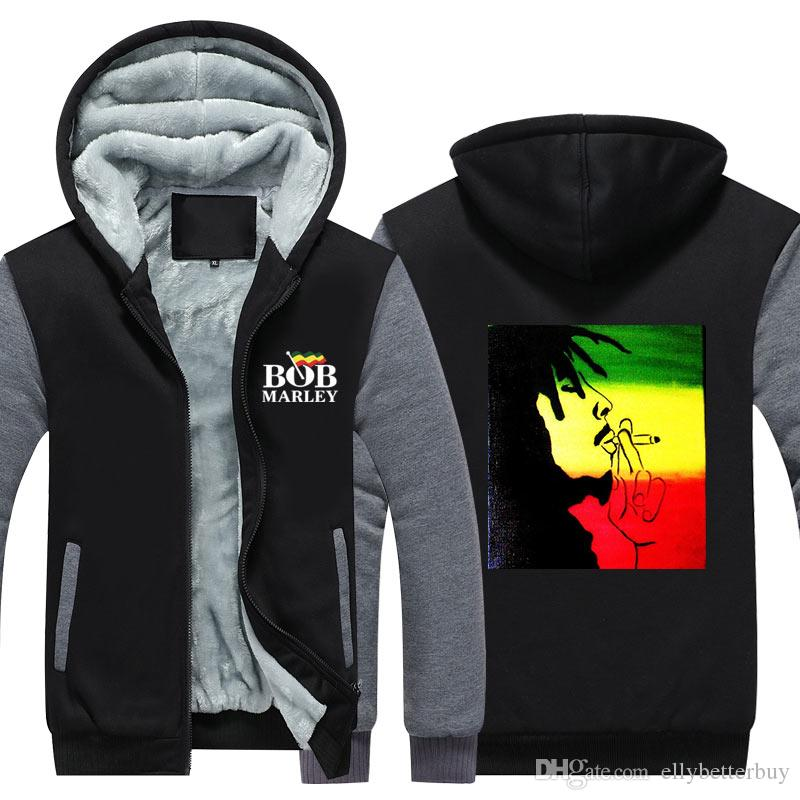 3eb4c2ac053ac Men Women Reggae Bob Marley Adult Thicken Men Cashmere Hoodie Zipper  Leisure Sweatshirts Coat Jacket Long Sleeve tracksuit Pullovers