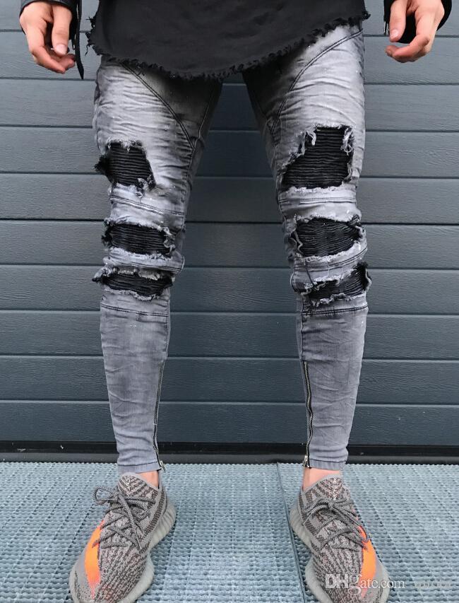 New Spring Fold Herren Jeans Fashion Zipper Loch High Street Style Schlanke Füße Hose Herren Motorradhose