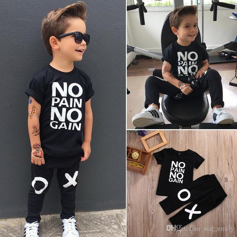 d43fc493288 2019 Boy S Suit Toddler Kids Baby Boy Outfits Black Hot Clothes No Pain No  Gain Letters Printed T Shirt Top+XO Pants Cool Sets 222 From Star emily