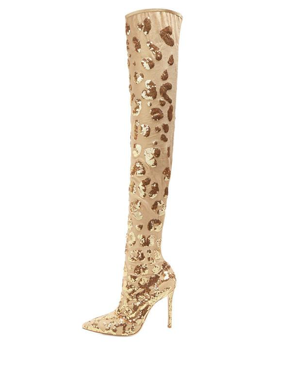 Luxury Women Gold Sequins Mesh Over The Knee Boots Glitter Lace Slip On  Thigh High Boats Sexy Pointed Toe High Heels Woman Shoes Boots No 7 Bootie  From ... 5ba7705d31a0