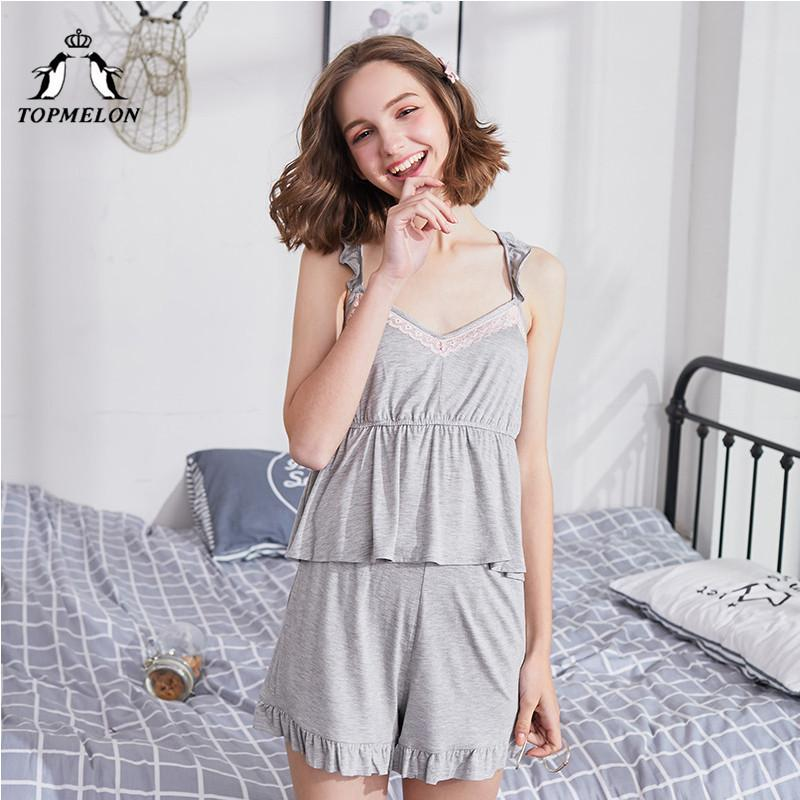 ... 2018 Wholesale Ruffles Tops Shorts Two Piece Pajamas Set Cute Grey Clothes  Women 2018 Summer Home ... bd5926cac