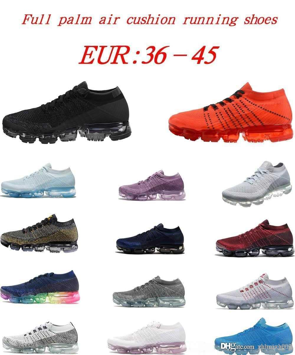 Alta calidad 2018 Hombres Mujeres Zapatos Corrientes Vapor Cojín superficie transpirable línea de mosca zapatos deportivos 2018 zapatillas tamaño