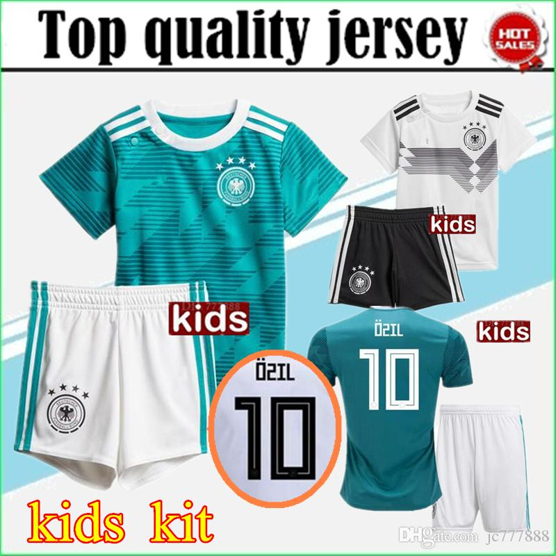abcfb85c3 2019 2018 World Cup Germany Kids Jersey Kits OZIL MULLER GOTZE HUMMELS  KROOS REUS Boy Kit SOCCER JERSEY 18 19 KROOS Home Football Shirts Uniforms  From ...