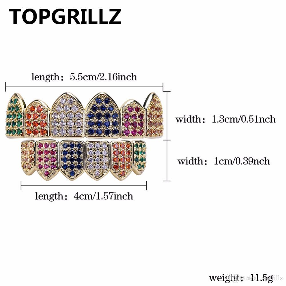 TOPGRILLZ Hip Hop Grills Gold/Silver Color Grillz Multi Color Micro Pave CZ Bling Cubic Zircon Top & Bottom Teeth Grillzs