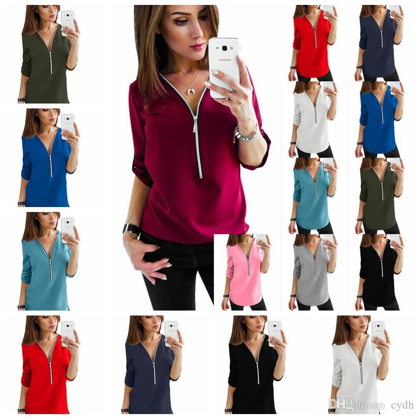 620a44f22e27 2019 European And American Long Sleeved V Neck Zipper Open Chest Loose  Chiffon Shirt, White, Pink, Gray, Black, Support Mixed Batch From Cydh, ...