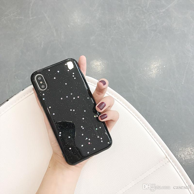 Bling Glitter Soft Phone Case For iphone X Case Cute Star Back Cover Love Heart Shining Powder Cases For iphone6 6s 7 8plus