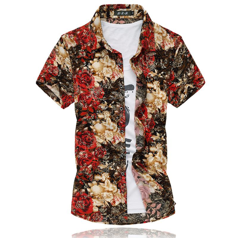 2018 Fashion Mens Short Sleeve Silk Hawaiian Shirt Plus Size 3XL 4XL 5XL 6XL 7XL Summer Casual Floral Shirts Men 50OFF