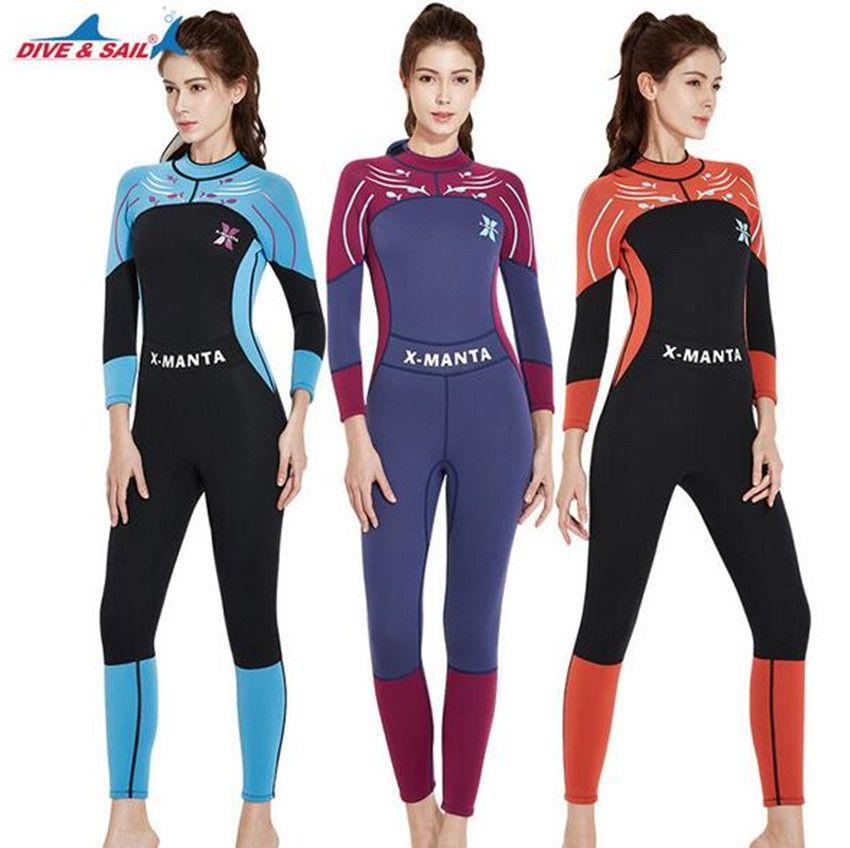 e502c8f293 DIVE&SAIL 3mm Neoprene Women Zipper Full Body Patchwork Wetsuit One-piece  Winter Warm Swimsuit Jumpsuit Diving Scuba Surfing Suit