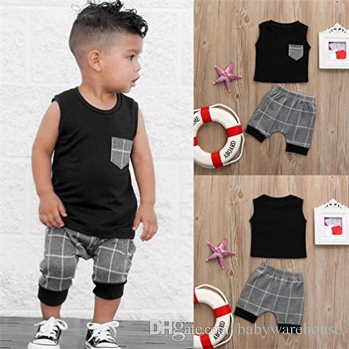 4546ab8fe67b 2018 Summer Baby Boy Clothes Sleeveess Black Tops with Pocket + Shorts 2PCS  Casual Boys Outfits Toddler Clothing Kids Clothes for Boys 0-5T