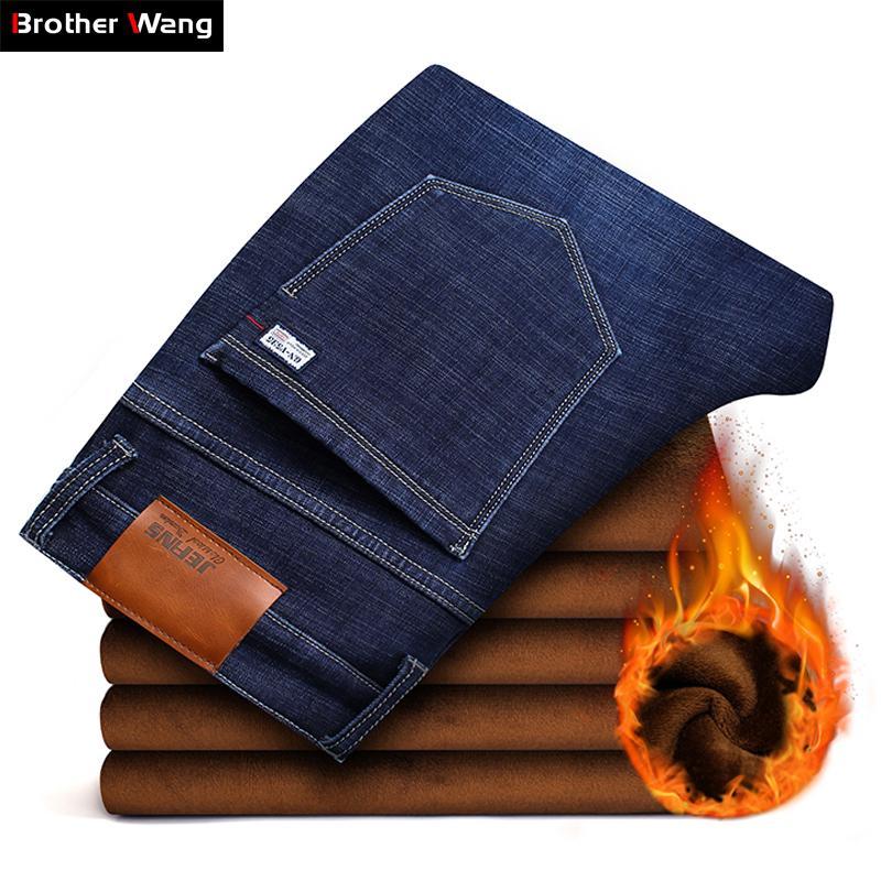 14ad7a8a9bc7c 2018 neue Herren Winter Marke Jeans Warm Slim Fit Denim Hosen männlich  Balck blau verdicken Hosen Jeans Big Size Männer 38 40 42 44 46