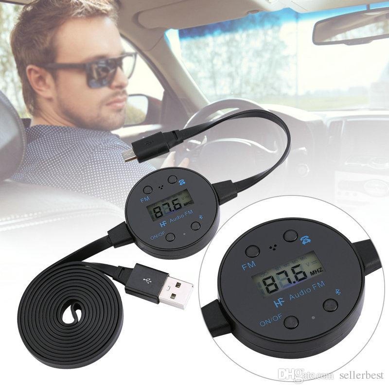 USB LCD Screen Display Car Bluetooth Audio FM Transmitter Adapter Converter 10m Cable Wireless Music Dongle