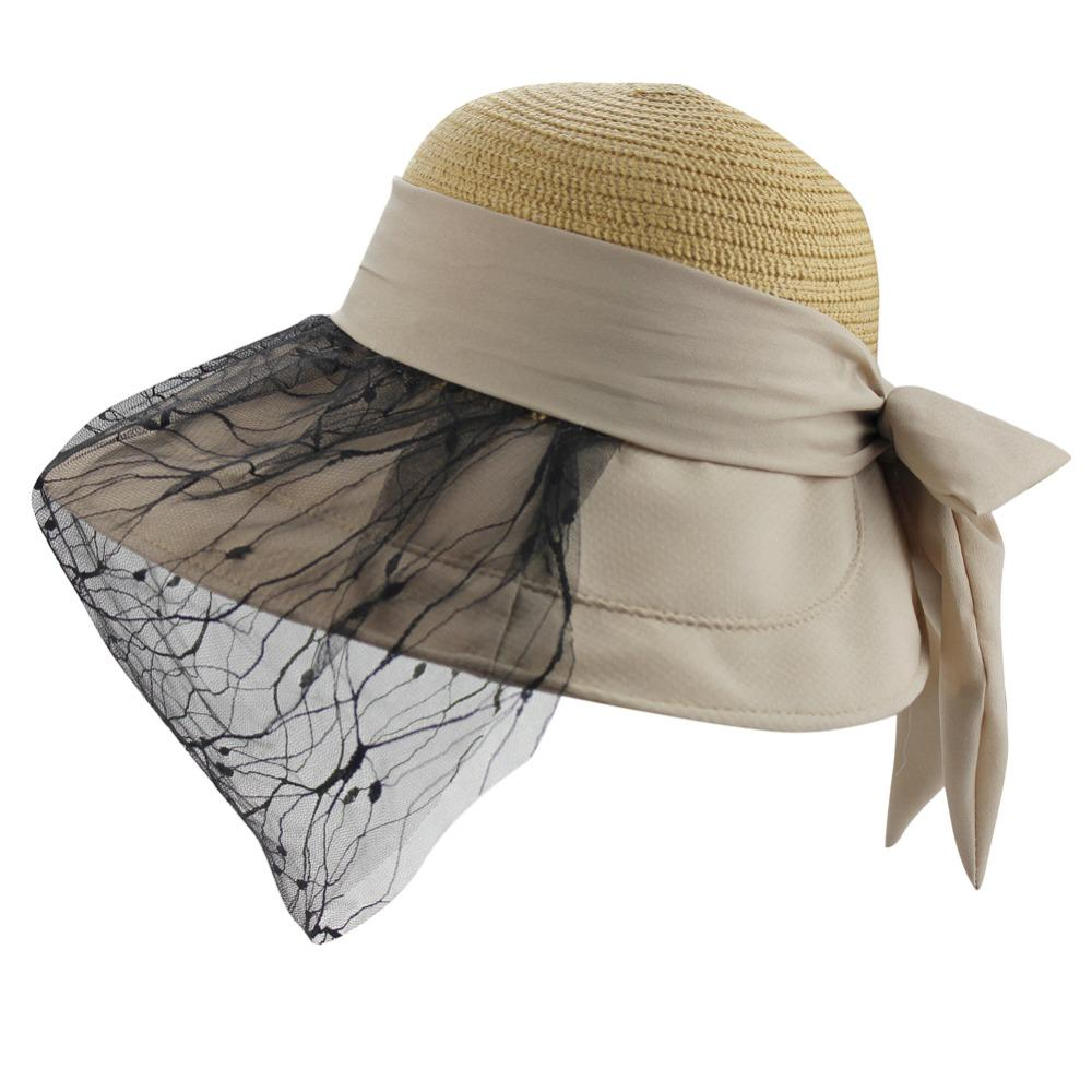 4d362ecf748 Womens Summer Beach Lace Face Mask Floppy Big Large Wide Brim Bowknot Straw  Top Sun UV Hat Visor Cap Windstring Wide Brim Hat Tea Party Hats From  Lantana