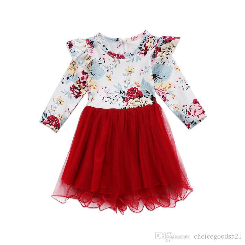5be9c9909 2019 Girls Dress Christmas Clothing Kids Floral Lace Tutu Dresses ...