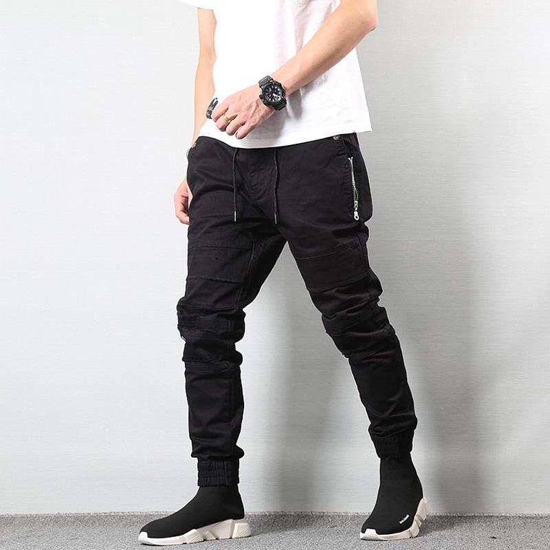 fd3c3d9e5defd Compre Estilo Japonés Moda Para Hombre Jeans Jogger Pants Destroyed  Drawstring Ripped Jeans Cargo Pants Homme Streetwear Hip Hop Men A  89.77  Del Feixianke ...