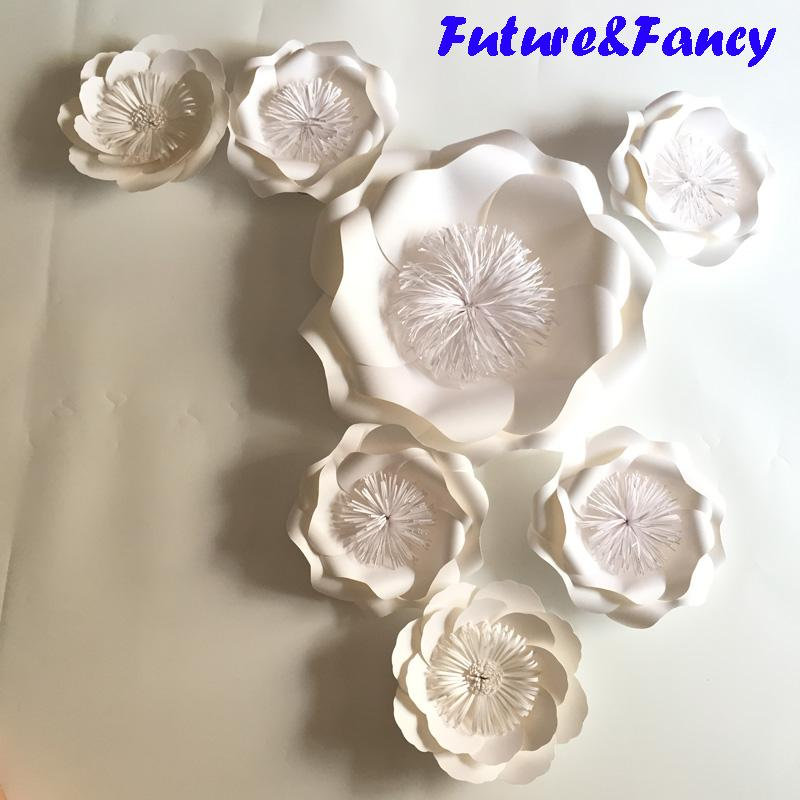 Set Mix Giant Paper Flowers For Wedding Backdrops Bridal Shower Baby