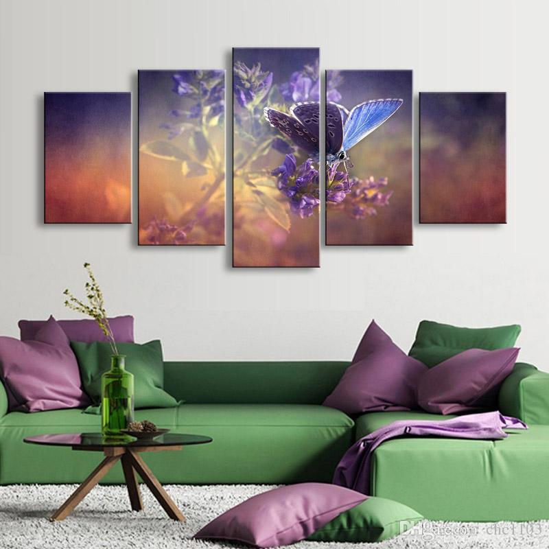 high-definition print butterfly flowers canvas oil painting poster and wall art living room picture PF5-008