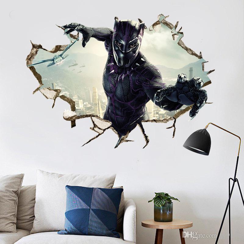 14741442707 Kids Room 3D Black Panther Wall Sticker Murals PVC The Avengers Wall Art  Decals Superhero Mural Wallpaper