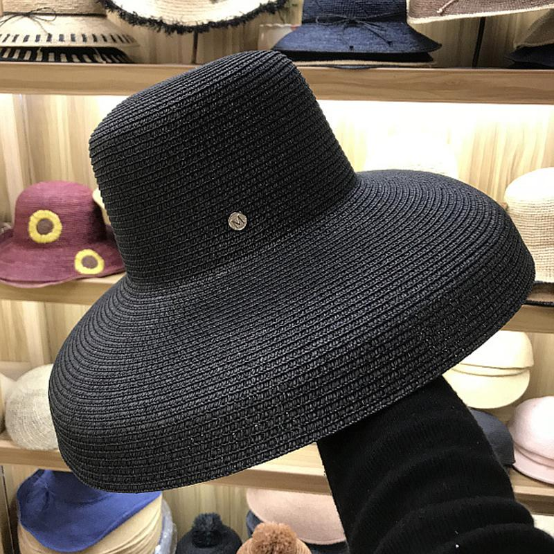 259660b6bb4fa FGHGF Women Sun Hats Wide Brim Summer Straw Hats 2018 New Natural Black  Fashion Floppy Beach Boater Hat Cap Kentucky Derby Hats D18103006 Hat World  Ladies ...