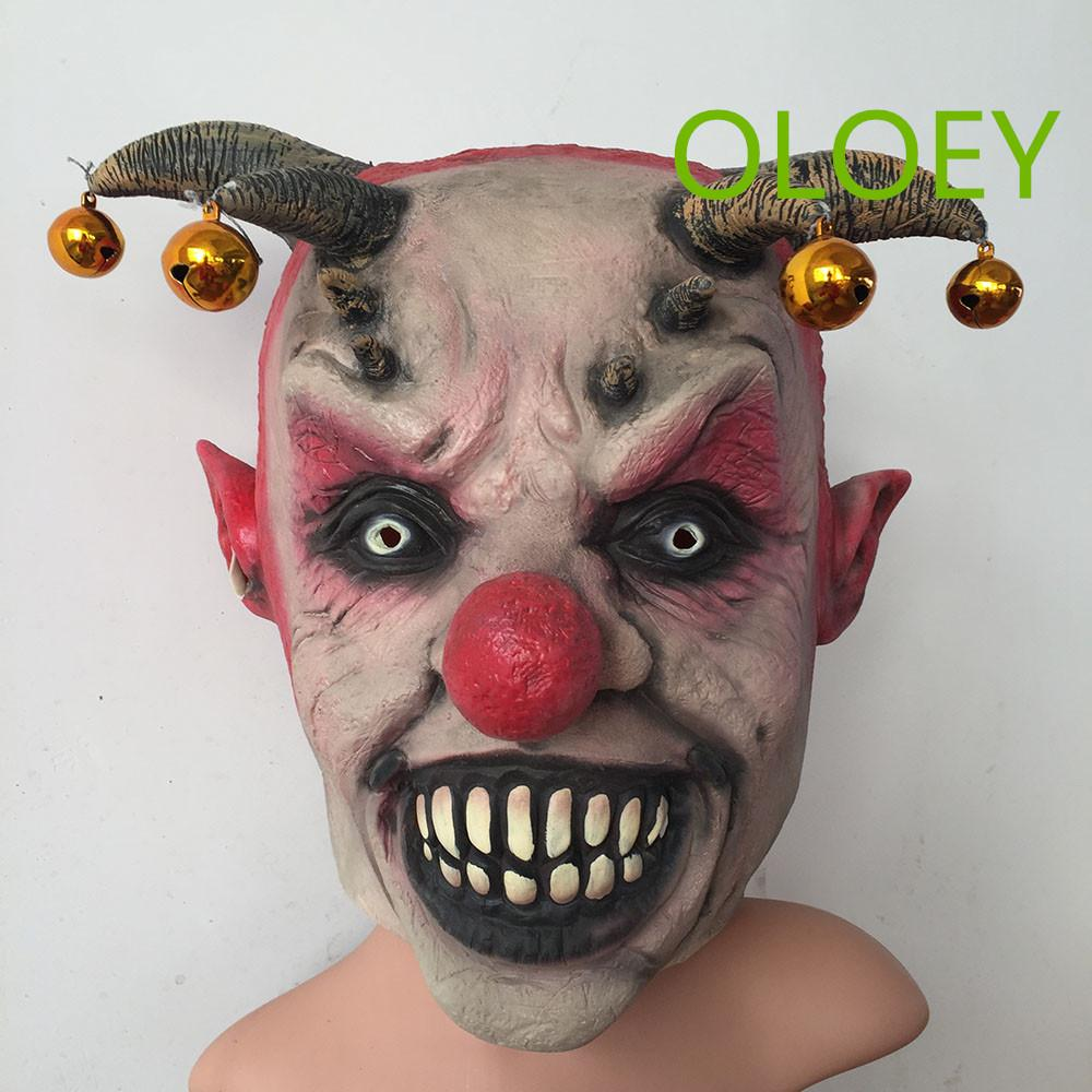 Horror Jingle Jangle Máscara de payaso Latex Scary Head Cabeza de cara completa Fiesta de Halloween Cosplay Props Party Costume Joker Máscaras