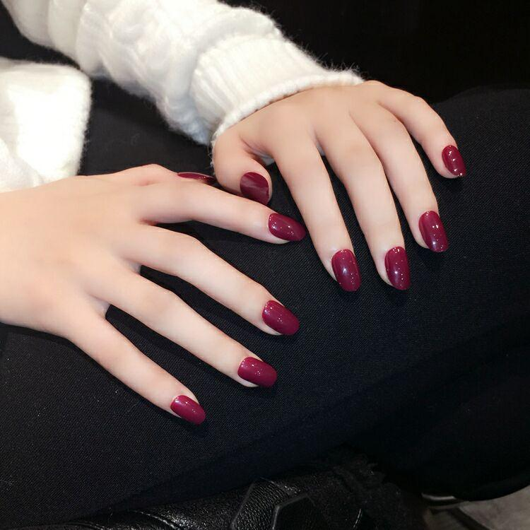 Foreverlily Oval Blood Red False Nails Medium Long Solid Nail Tips