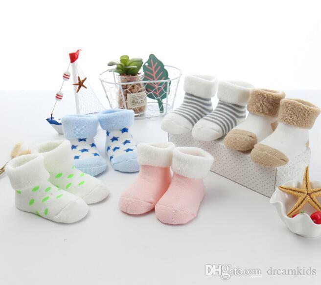 bébé chaussettes nouveau-nés coton d'hiver chaussettes courtes unisexes 0-6 mois chaussettes infantile pour garçons et filles