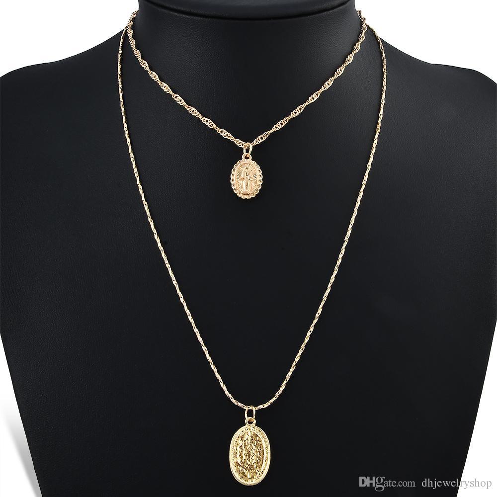 Мода Религиозные католическая Choker Коренастый Геометрическая Розарий крест Богородица позолоченный кулон ожерелье цепь ювелирные изделия