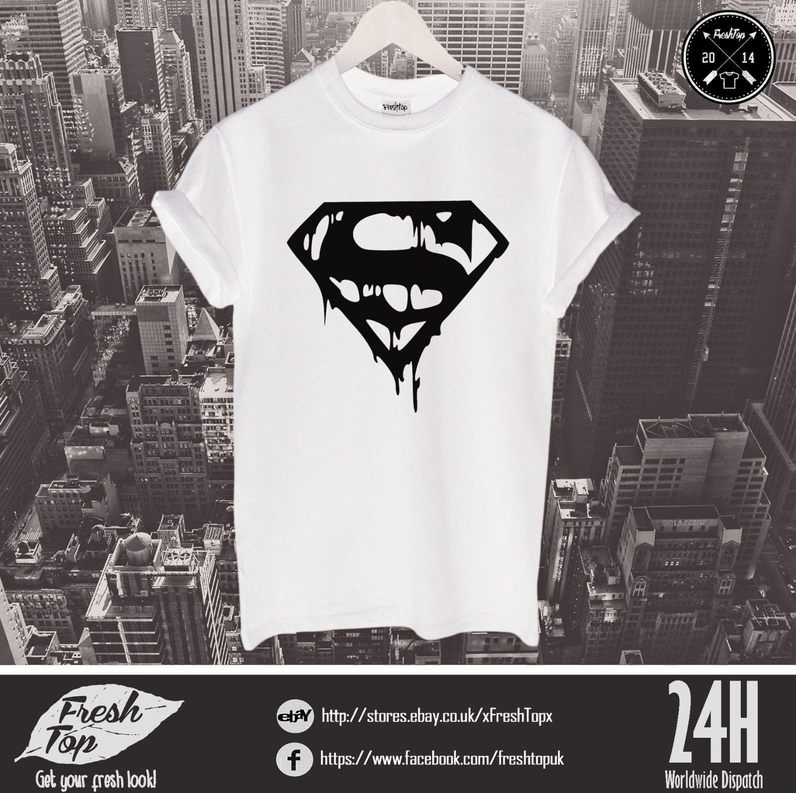 Superman T Shirt Top Dope Logo DC Comics Superhero VS Clark Kent Gift Mens  2018 Fashionable Brand 100%cotton Printed Round Order T Shirts Quality T  Shirts ... cf6f60a3ff