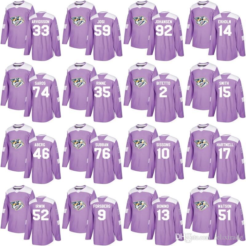 bf93bcc4 ... reduced 2018 nashville predators purple jersey hockey fights cancer  p.k. subban 9 filip forsberg 35 pekka