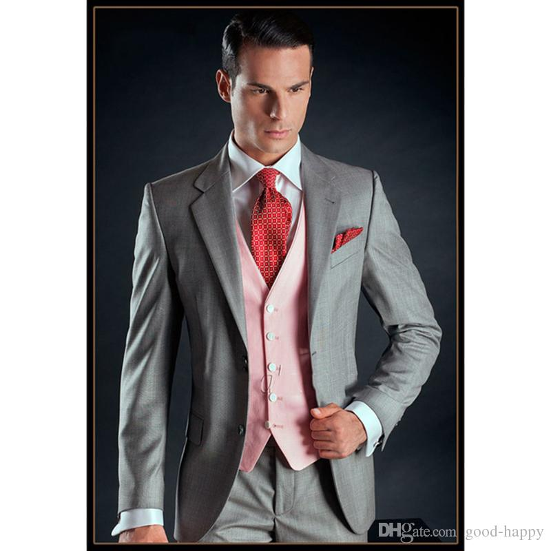 Cheap -- Light Grey Groom Tuxedos Two Button Side Vent Slim Fit Bridegroom Blazer Men Formal Prom Suits Brand New(Jacket+Pants+Tie+Vest)867