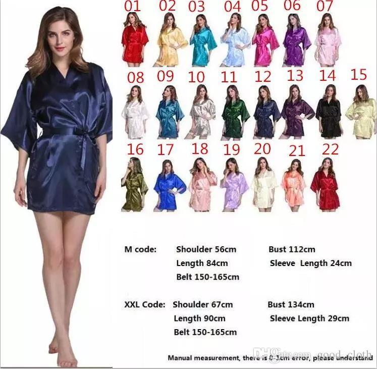 78e1695b1be SATIN BRIDESMAID ROBES 22 Colors Bridesmaids Robe Wedding RobesSleepwear  Kimono Pajamas robes for Women Immitation Silk Bath Robes cny137