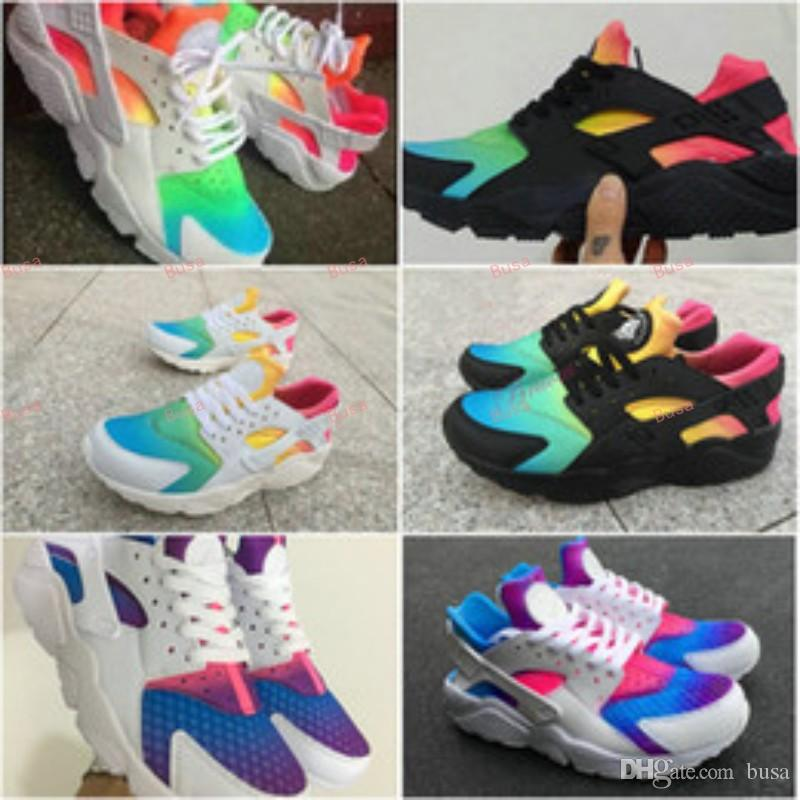 2018 2018 Ai Huarache Shoes Women And Mens Rainbow Designer Huaraches  Customer Trainer White Black Running Shoes Sneakers Huraches Size 36 46  From Busa 4528c4351d2