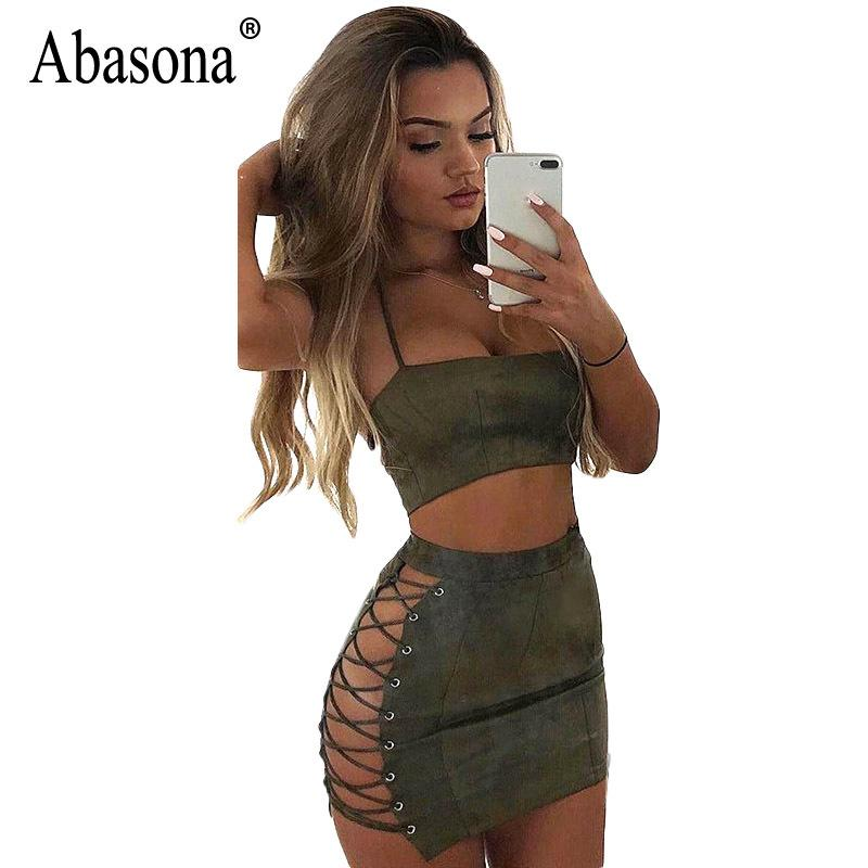 9b74ca0cec5a Abasona Women Suede Dress Summer Lace Up Two Piece Dress Set Sexy Party Club  Wear Halter Bandage Bodycon Mini Dresses Robe Sexy Y1891107 White Formal ...