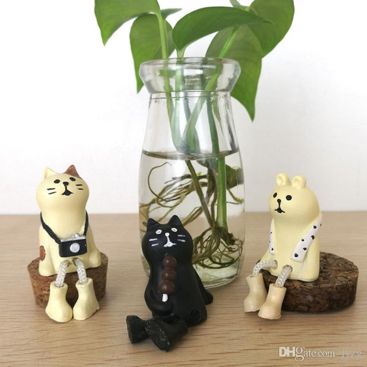 Bear Cat miniatura figurine Giappone Zakka Animal Decoration Mini Fairy Garden resina giocattolo del regalo mestiere ornamento
