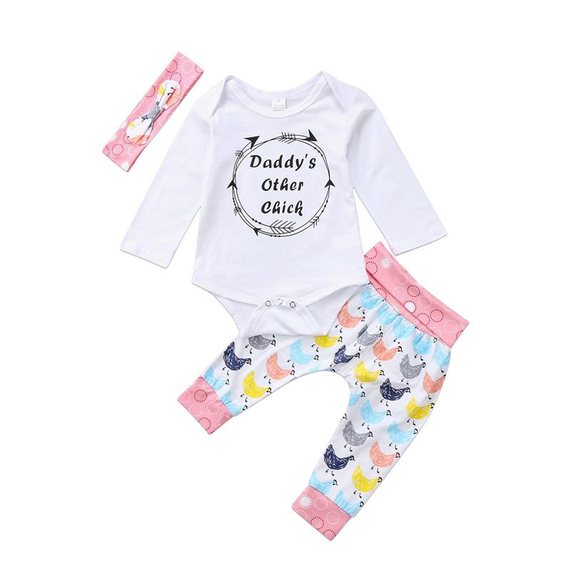 2019 New Cute Baby Girls Clothing Sets Tops Rompers Playsuit Pants Headband Outfit  Set Newborn Infant Baby Girls Clothes Set From Beasy 36dcc21636b9