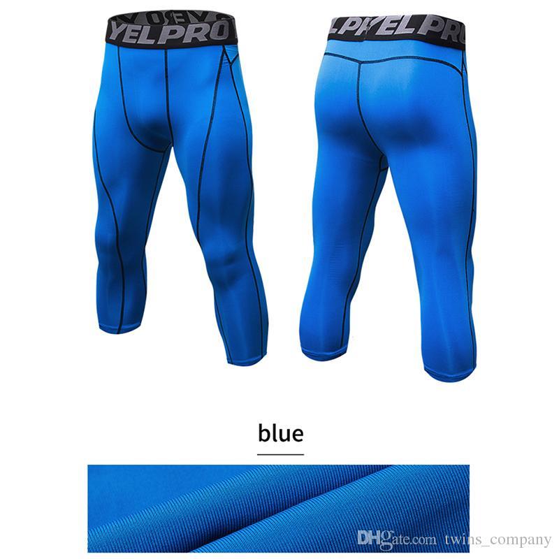 Erkek Sıkıştırma Tayt 3/4 Pantolon Spor Sıkı Spor Koşu Basketbol Pantolon Koşu Tayt Slim Fit Koşu Pantolon
