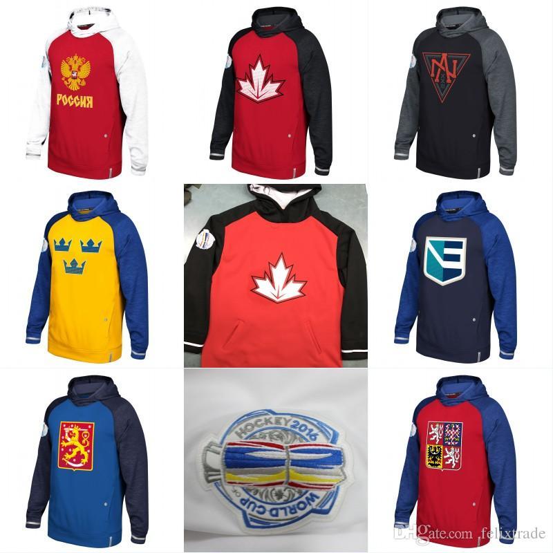 4e0772e7a90 2019 2016 World Cup Of Hockey WCH Hoodie Team USA Czech Republic Europe  Finland North America Russia Sweden Jerseys Sweatshirts Men Women Youth  From ...