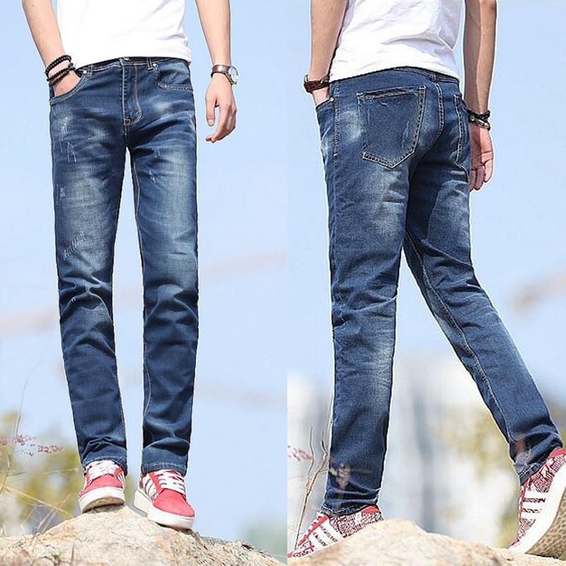 98f26e0b Fashion Men s Jeans Mens Long Straight Leg Biker Denim Jeans Skinny Slim  Outfits Smart Casual Deep/Light Blue