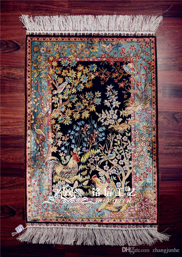 2x3ft Flower Bird View Turkish Silk Carpet Handmade Exquisite Persian Silk Rug Area Rugs Pray Carpets Bedroom Carpet Replacement Discount Carpet Tiles From ...