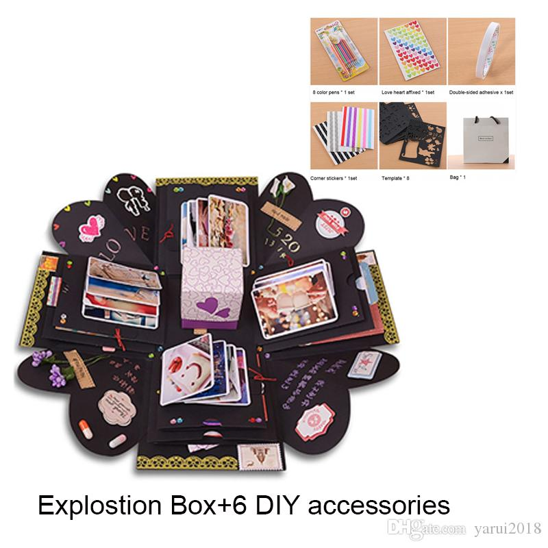 Hot explosion box scrapbook diy photo album with 6 kinds of diy kit birthday anniversary valentine wedding surprise gift personalized christmas cards personalized greeting card from yarui2018 1089 dhgate m4hsunfo