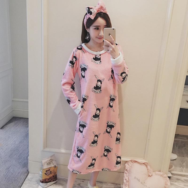 2018 2017 Autumn Winter Print Warm Flannel Nightgown Home Wear ...