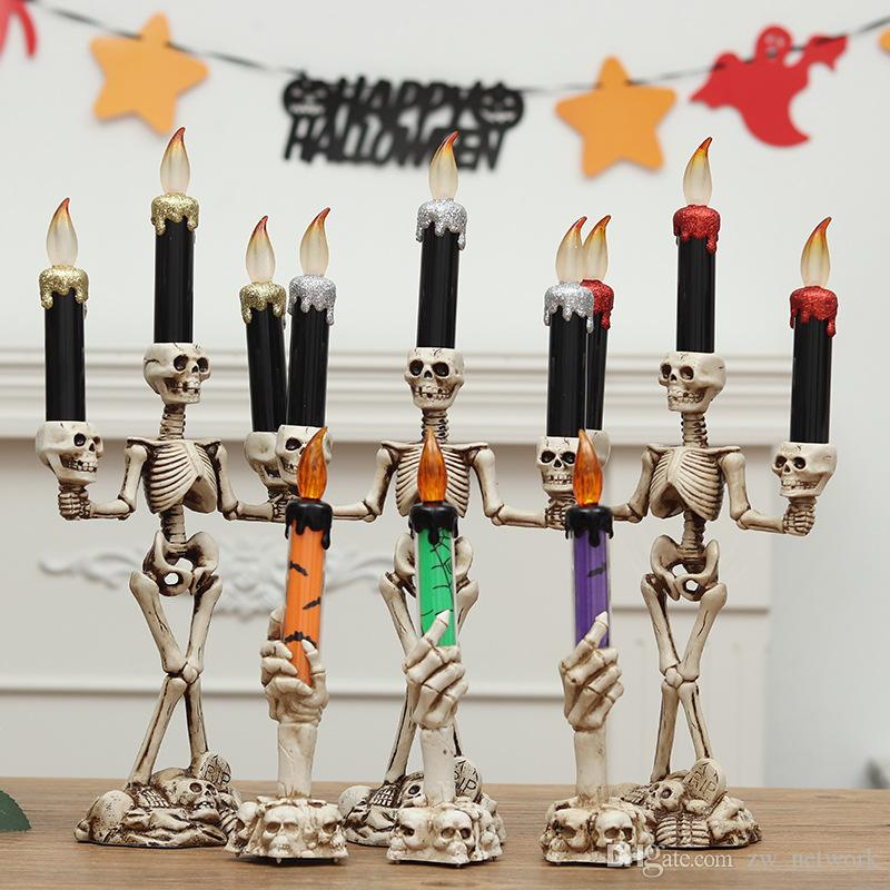 3pcs/set Halloween Skull LED Candles Flameless Timer candle Battery Operated Electric Lights Flickering Tealight Halloween props