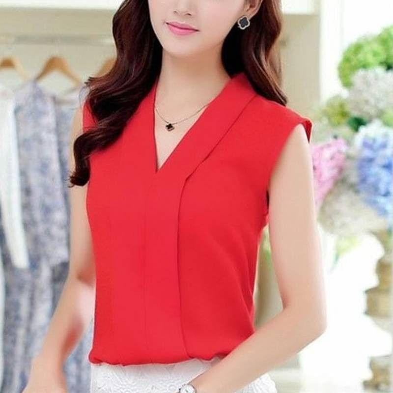 New Fashion Women Chiffon Blouses Ladies Tops Female Sleeveless Shirt Blusas Femininas White,Red,Purple,Black S-XL